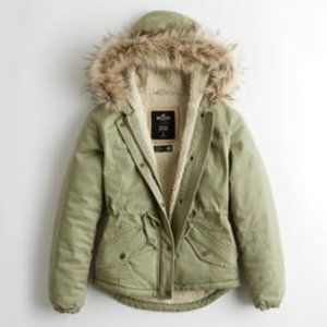 Brand New Sherpa-Lined Anorak Jacket - Olive